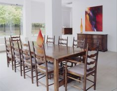 Gathering Table with Ladderback Chairs and Lowboy - All French oak