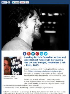 Poet and Singer/Songwriter Robert Priest To Tour UK/Europe Fall 2013 Writers And Poets, Uk Europe, European Tour, Priest, Touring, Singer, Events, Image, Singers