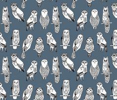 Geometric Owl - Payne's Grey/white by Andrea Lauren fabric by andrea_lauren on Spoonflower - custom fabric