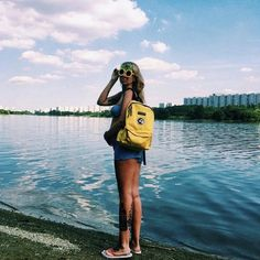 A light heart with a curious eye seeks solace by the water wearing our Voyage backpack Spring Summer 2016, Lemonade, Backpacks, Explore, Eye, Landscape, Heart, Water, How To Wear