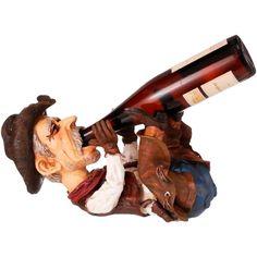 Porta vinho Country Importado Perfeito Drunk Cowboy Texas     Porta garrafa de vinho. Produto importado. Design de um Velho Cowboy completamente traiado com chapéu, botas, calça montaria, colete, bandana, revólver e deitado bebendo o vinho (Quando a garrafa está posta na Estátua dá impressão que ele está bebendo). Fabricada em resina endurecida pintada a mão. Incrível riqueza de detalhes, perfeito acabamento que faz com que a peça pareça real.