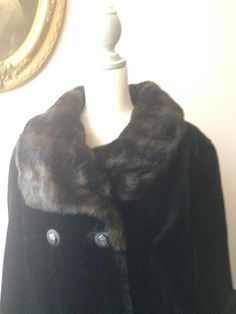 Michel Daniel COAT Beautiful Black with Dark Brown Sleeves & Collar NICE Vintage #MichelDaniel #BasicCoat
