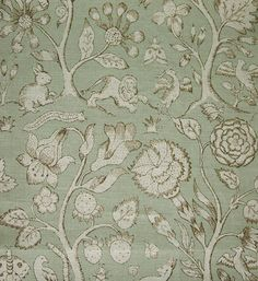 Beaufort Linen Fabric Print taken from Elizabethan embroideries depicting animals and insects in a forest duck egg on natural
