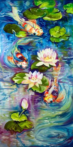 KOI and WATERLILIES ~ This original oil painting is for you ~ bringing you peace and harmony ! Koi Art, Fish Art, Koi Painting, Easy Landscape Paintings, Carpe Koi, Art Wall Kids, Wall Art, Beautiful Artwork, Painting Inspiration