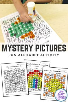 Mystery Letter Pictures Alphabet Activity Fun Alphabet Activities for Preschool, PreK and Kindergarten! Mystery Letters Pictures Printable is great for teaching letter identification and fine motor skills! Kindergarten Lesson Plans, Kindergarten Literacy, Preschool Learning, Preschool Activities, Kindergarten Pictures, Literacy Centers, Family Activities, Fun Learning, Picture Letters