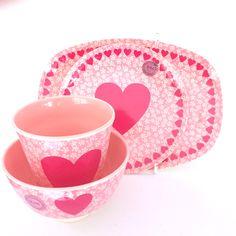 pretty Love Heart melamine set by RICE at www.pinksandgreen.co.uk
