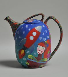 polymer clay tea pot  retro rocket