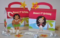 Moana Polynesian Princess inspired favor box combo with Maui for birthday party PERSONALISED pdf includes FREE tropical flower cutouts! By Glitter Ink Designs