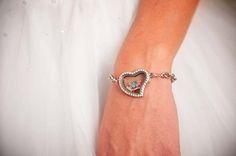 Glockets - heart glass locket bracelet with personalized charms inside.