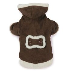 East Side Collection Polyester Hooded Sherpa Dog Coat, Large, 20-Inch, Chocolate ** More details can be found by clicking on the image.
