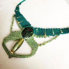 Macrame Jewelry, gemstone necklace, macrame stone, hippie necklace, bloodstone