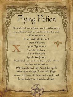 Flying Potion for homemade Halloween Spell Book. Halloween Spell Book, Halloween Spells, Hoodoo Spells, Magick Spells, Luck Spells, Witch Potion, Witch Spell, Potions Recipes, Magic Herbs