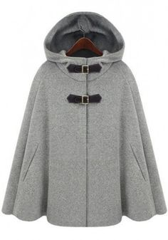 Grey Hooded Two PU Buckle Cashmere Wool Coat nice with tights and black riding boots and a black dr bag