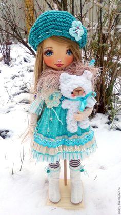 Купить Текстильная кукла. - бирюзовый, коллекционная кукла, авторская ручная работа, авторская кукла