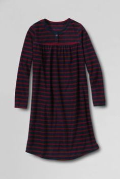 Girls' Long Sleeve Fleece Shirred Gown from Lands' End Baree in polka dot
