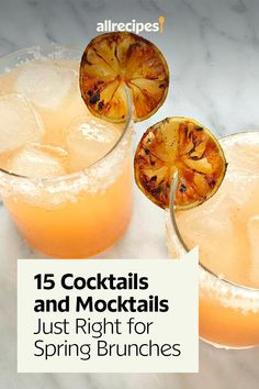 "15 Cocktails and Mocktails Just Right for Spring Brunches | ""Spring brunch season calls for the freshest, brightest cocktails and mocktails to complement all your brunch menus. Here are 15 brunch drinks you can serve with or without alcohol, featuring seasonal flavors like strawberry, rhubarb, grapefruit, and pineapple — and a classic Bloody Mary, of course."" #drinks #drinksrecipes #drinkrecipes Brunch Drinks, Brunch Menu, Party Drinks, Punch Recipes, Drink Recipes, Cocktail Recipes, Cocktails, Drinks Alcohol, Frozen Drinks"