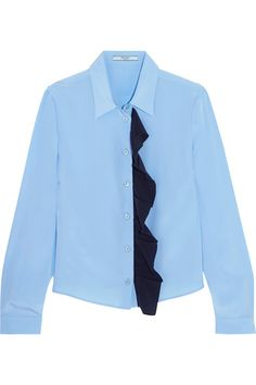 Light-blue and navy silk crepe de chine Button fastenings through front 100% silk Dry clean Made in Italy