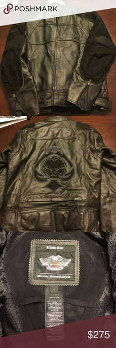 Harley Davidson Leather Motorcycle Heavy Jacket Harley Davidson Men's leather riding jacket. This jacket is super heavy (at least 10lbs!) & durable. Leather with suede shoulders and arm patches. There are lots of vents so you can ride in warmer weather but this is heavy enough for winter riding. Zip close pockets with inside pockets as well. Only worn a handful of times great condition.    Have questions? Please ask!  I love offers!  PLEASE NOTE THAT A LOWBALL OFFER DRASTICALLY REDUCES MY…