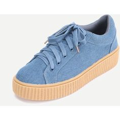 SheIn(sheinside) Faux Suede Platform Sneakers DENIM (715 MXN) ❤ liked on Polyvore featuring shoes, sneakers, blue shoes, platform trainers, denim sneakers, almond toe shoes and platform shoes