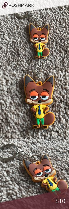 Keys Holder Automobile Keychain Zootopia Nick Wild Keys Holder Automobile Car Keychain Zootopia Nick Wilde Key Chain PVC Rubber FOB  Color: See the Photos Accessories Key & Card Holders