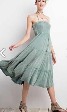 Mineral Washed green super Flowy sundress arrives Wednesday!! •    •    Smocked upper bodice paired with amazing color and flow! This will def a go to this summer for a chic look while still being amazingly comfy! Plus it will easily transition to fall by pairing it with a denim jacket!!! Cannot wait to get these!!! •    •    {sizes small-large available; runs TTS; Reg $48~preorder for $38} •    •    COMMENT or DM with size and email for secure PayPal invoice. •    •    •    •    •    •    •