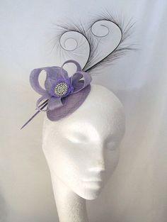 Lilac Pheasant Curl Feather Sinamay Loop & Rhinestone Pearl Wedding Fascinator Mini Hat - Custom Made to Order