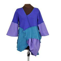 Eclectic Ladyland tunic: royal blue, turquoise, purple, upcycled - Secret Lentil Clothing