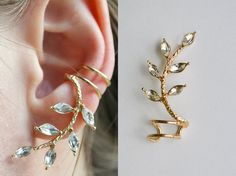 Shop put  favorites, we often have discounts and promotions! Pls, keep an eye on the store - https://www.etsy.com/ru/shop/EarringsEarcuffs      I make a gift with every order :)        Among earrings ear cuffs meet a variety of forms: small - on the lobe or cartilage, large - on the whole ear. There ear hanging earrings, there are those who have multiple bindings. Ear cuffs depicted in the photo, has a rather unusual design, it is fixed to the middle ear and a decorative element hanging…