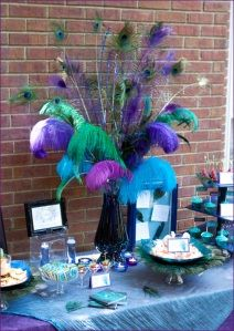 Peacock décor is bright, original and it looks very well with many colors and themes. There are many ways to integrate the peacock theme into the wedding décor. It's not necessary to use peacock fe… Peacock Decor, Peacock Theme, Peacock Wedding, Peacock Centerpieces, Peacock Colors, Peacock Baby, Wedding Flowers, Peacock Party Ideas, Peacock Tutu