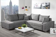 Design Ecksofa APARTMENT Strukturstoff grau Federkern Sofa Schlaffunktion 499,00 €