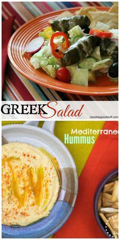 Greek Salad and Mediterranean Hummus - perfection! www.ceceliasgoodstuff.com