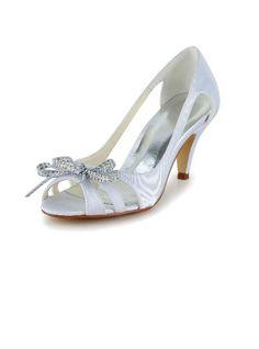 Women s Satin Cone Heel Peep Toe Sandals With Bowknot Rhinestone - JJsHouse e2e7f0b7b56e