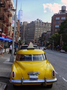 Vintage yellow cabs - Greenwich Village - New York