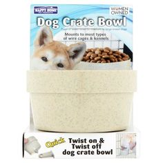 Happy Home Pet Products Dog Crate Bowl For Large Dogs, 1ct (Colors May Vary), White