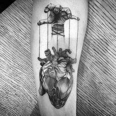 Top 90 Anatomische Herz Tattoo Ideen - Inspiration Guide] - Gentleman With Heart Tattoo, gezogen von Puppet Strings In Blackwork On Thigh - Neue Tattoos, Body Art Tattoos, Tattoo Drawings, Sleeve Tattoos, Cool Tattoos, Tatoos, Creepy Tattoos, Tattoos 3d, Rock Tattoo