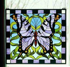 25 Inch W X 23 Inch W Purple Butterfly Window Windows