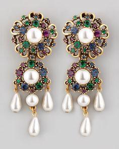 Baroque Drop Earrings by Oscar de la Renta