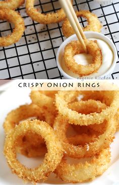 How to Make Crispy Onion Rings Crispy Onion Rings - Eugenie Kitchen Onion Recipes, My Recipes, Cooking Recipes, Favorite Recipes, Burger Recipes, Copycat Recipes, Healthy Recipes, Tapas, Onion Ring Batter