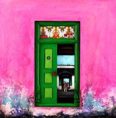 painting of Indian door by K.R. Santhana Krishnan - mix of acrylic on canvas and wooden models of doors (complete with old locks and stained glass) http://www.doorpaintings.com/gallery.html http://doorpaintings.blogspot.com/ #paintings #colors #india