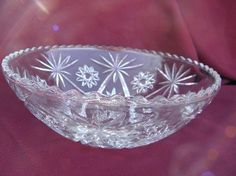 EAPC vintage pres-cut glass serving dishes, early american pattern