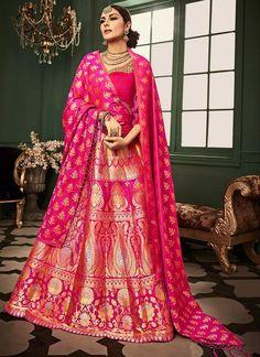 Hot Pink Heavy Embroidered Banarasi Silk Lehenga