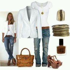 Skinny jeans boots and blazer love this for fall!
