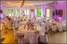 Décoration de mariage - Salle, pivoines, rose, jute