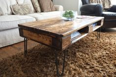 Pallet Coffee Tables on Hairpin Legs