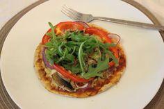Gluten Free Pizza || Mushrooms, red onion, red bell pepper, mozzarella, tomato sauce and rocket