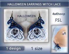 Lace Witch earrings color  FSL  4x4hoop  Machine by EmbroideryRady