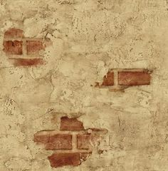 Wallpaper Designer Tuscan Tan Stucco Wall with Red Exposed Brick | eBay