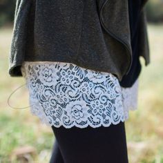 Shirt Extender- White Lace Wardrobe foundation MUST-HAVE! Add style and versatility to your wardrobe with this white lace top extender, that adds length to those short tops and extra coverage at the h