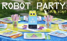Robot Party Ideas: Games & Activities Check out the $86 sets from tumblingtowers.com all sets have free shipping