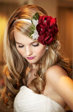 Bride's side part long down curls bridal hair ideas Toni Kami Wedding Hairstyles ♥❸ Headpiece McDade photography Red